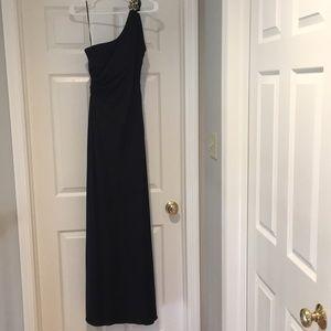 La Femme- Off the Shoulder Black Gown. Size 10.